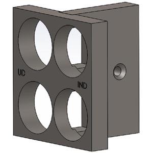 Solidworks 3D tegning af boreskabelon til låsekasser
